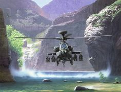 A Boeing AH-64 Apache Longbow fully loaded with a complement of 16 Hellfire anti-armor missiles dusting off a river in a hover at low altitude.  Close ground support at it's finest!