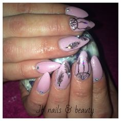 Acrylic nail extensions with light pink. Gel polish & dream catcher inspired art