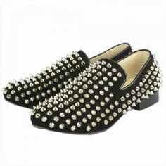 Not going to lie, I kind of want these!!!!  Christian Louboutin Rollerball Loafers Silver Studded Black Christian Louboutin