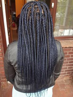Long Dark Blue Box Braids #braidedhairstylesforblackwomen Blue Box Braids, Large Box Braids, Colored Box Braids, Short Box Braids, Jumbo Box Braids, Black Girl Braids, Small Box Braids Hairstyles, Try On Hairstyles, Braided Hairstyles For Black Women