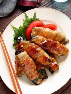 なす肉巻き9 Japanese Lunch, Ratatouille, Bento, Chicken Wings, Tofu, Sausage, Cooking Recipes, Yummy Food, Homemade