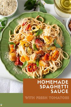 Spaghetti Sauce With Fresh Tomatoes is a simple vegan recipe that is full of delicious Italian flavors and a touch of spice.   When you make this recipe your home will be filled with the aroma of roasted garlic, tomatoes, and herbs just like an Italian grandma's kitchen.