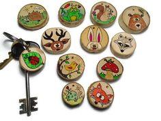 Woodland Animals - Woodland Keychain - Animal Keychain - Personalized Keychain - Back To School Gifts - Wooden Animals - Animal Lovers Gift Wooden Ornaments, Unique Purses, Wooden Decor, Woodland Animals, Squirrel, Ladybug, Hedgehog, Whimsical, Hand Painted