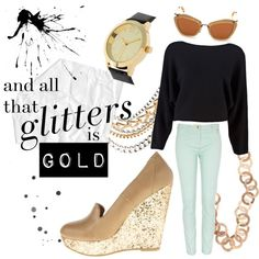 Mad Money by Chinese Laundry. #shoes #chineselaundry #gold #sparkle #glitter #mint