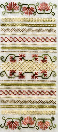 Victorian Pinks and Carnations Cross Stitch Kit - No link, Inspiration only Embroidery Patterns Free, Cross Stitch Embroidery, Swedish Weaving, Cross Stitch Borders, Stitch Kit, Carnations, Needlepoint, Tatting, Needlework