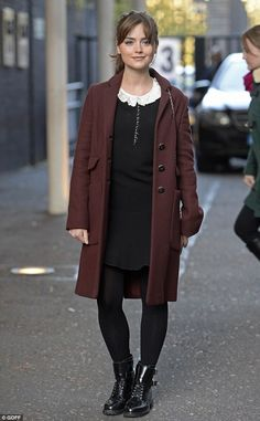 Doctor Who's Jenna Coleman wears vintage-style blue skirt and polo-neck for Somerset House exhibition | Mail Online