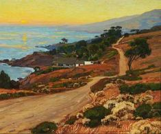 """William Wendt was an American landscape painter. He was called the """"Dean of Southern California landscape painters."""" (Wikipedia) (""""The Old Coast Road"""" by William Wendt) Landscape Art, Landscape Paintings, Irish Landscape, California Art, Southern California, Impressionist Paintings, Oil Paintings, Impressionism, Southwest Art"""