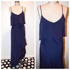 Intermix Hanna Bib Hi/Lo Silk Dress Beautiful asymmetrical silk dress. Brand new with tags. Size S. Navy. From Intermix Intermix Dresses High Low