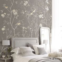 Just a gorgeous bedroom inspiration .. De Gournay wallpaper .. Relaxing colors , pattern and design ...