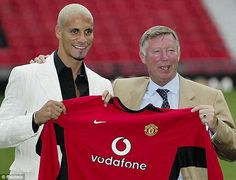 Rio Ferdinand with Sir Alex Ferguson on the day that he first signed for United from Leeds