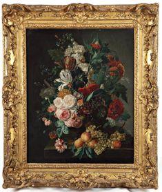 ATELIER DE JAN VAN HUYSUM (1682-1749)   Bouquet de fleurs Huile sur toile, rentoilée. Porte une signature en bas à droite. 80 x 64 cm G.A. Cadre ancien en bois et stuc doré. Oeuvre en rapport: le tableau de Jan Van Huysum conservé à la National Gallery de Washington