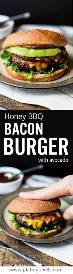 The ultimate homemade grilled honey bbq bacon burger recipe. Easy juicy burger with /KCMBBQ/ bbq sauce, bacon, cheddar and avocado you can cook at home on the barbecue. With gluten free option #ad #KCMasterpiece http://www.platingpixels.com