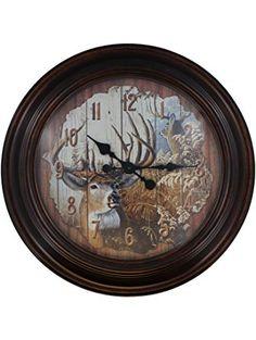 Slifka Wildlife Deer Antler Mantel Desk Clock Living Room Decor
