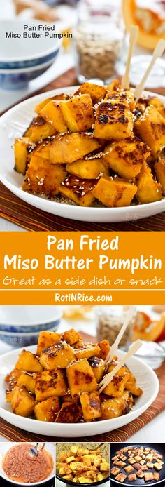 "Fragrantly delicious and ""addicting"" Pan Fried Miso Butter Pumpkin sprinkled with toasted sesame seeds. Great as a snack or side dish. Vegetarian Recipes, Cooking Recipes, Healthy Recipes, Yummy Recipes, Recipies, Asian Recipes, Sweet Recipes, Japanese Recipes, Japanese Food"