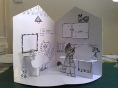 idea for easy paper doll play house (Pop Up by Nicoletta Costa) cool idea - change theme to garden maybe? Paper Doll House, Paper Houses, Paper Dolls, 3d Cuts, Arte Pop Up, Casa Pop, Pop Up Karten, Tunnel Book, Paper Pop