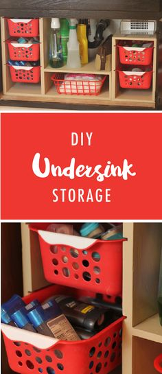 Do the cabinets under your sink frequently become cluttered and messy? This DIY under sink storage solution is a great way to keep all of your supplies neat and orderly. This easy project can work in (Diy Bathroom Organization)