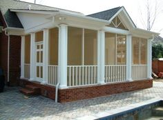screened in porches - mustard screen color with the white wood trim looks great