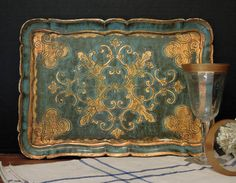 Vintage Italian Blue and Gold Gilt Florentine Tole Tray / Wood