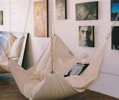 The most quirky home furniture.....LOVE the hanging chairs!!! (upstairs?)