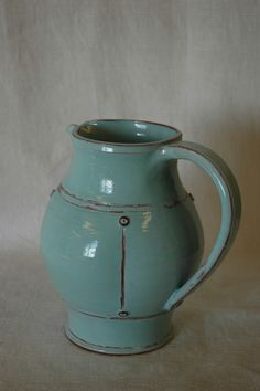 Maud Andersson, Skoby Krukmakeri, Sweden. Light blue pitcher, 1,4 liters.