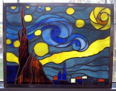 Starry Night Stained Glass Panel par StainedGlassYourWay sur Etsy