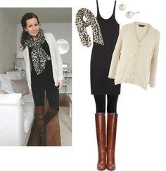 Black tank dress, cardi, scarf, leggings, boots.