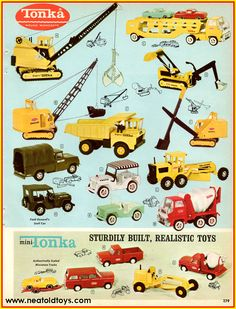Vintage shots from days gone by! My Childhood Memories, Childhood Toys, Tonka Toys, Tonka Trucks, Vintage Advertisements, Vintage Ads, Gi Joe, Wooden Toy Trucks, 1960s Toys