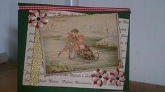 Plaatje uit de 1ste Flow bloemetjes. Gemaakt stukje papier lintje en de eerste kerstkaart is er.