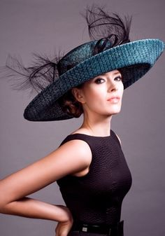 Straw mesh picture hat with burnt ostrich feathers  Rachel Trevor-Morgan