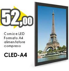 Cornice a led luminosa formato A4.
