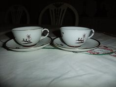 Vintage Swedish  set of two Sober and elegant Diana coffee cups and saucers ALP Lidköping Einar Forseth design by AnnChristinsVintage on Etsy
