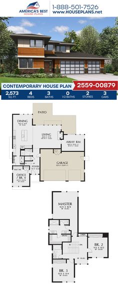 Plan 2559-00879 offers a 2-story Contemporary home design complete with 2,573 sq. ft., 4 bedrooms, 3 bathrooms, a kitchen island, an open floor plan, and a home office. #contemporaryhome #twostoryhome #modernstyle #architecture #houseplans #housedesign #homedesign #homedesigns #architecturalplans #newconstruction #floorplans #dreamhome #dreamhouseplans #abhouseplans #besthouseplans #newhome #newhouse #homesweethome #buildingahome #buildahome #residentialplans #residentialhome Best House Plans, Dream House Plans, Dream Homes, My Dream Home, Contemporary House Plans, Two Story Homes, Open Floor, Innovation Design, Building A House
