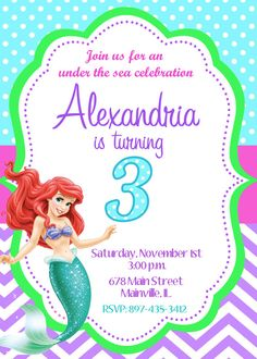 Little Mermaid Ariel Birthday Party por PrettyPaperPixels en Etsy