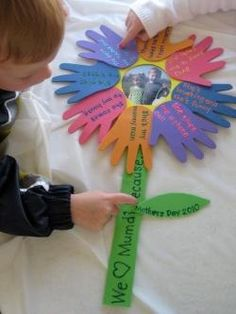 Flower love notes for Mothers Day made from cutouts of childs hands mother-s-day