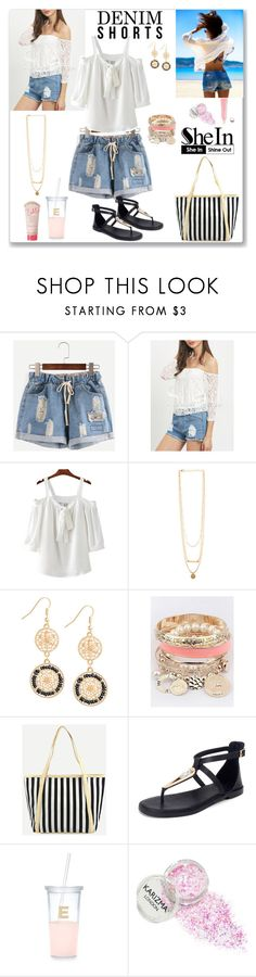 """Shein Denim Shorts"" by ludmyla-stoyan ❤ liked on Polyvore featuring Kate Spade, Zoella Beauty, contest, denim, shorts, denimshorts and shein"