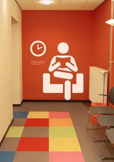 Environmental graphics for the health clinics.The main idea of the concept of design interior are bright, emotional pictograms which remove the psychological barrier when visiting a medical clinic and contribute to greater trust of the patient.