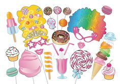 Sweet Shoppe Photobooth Party Props Set - 22 Piece PRINTABLE - Candy photo booth props, icecream, cake pops, cupcake, lollipop, donut by TheQuirkyQuail on Etsy