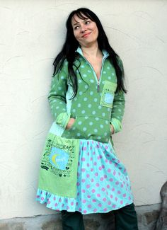 Polka dots recycled dress tunic