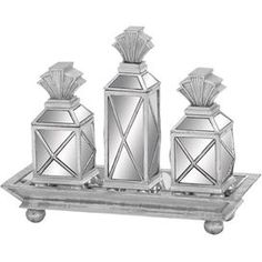 Bring a touch of chic style to your home décor with the Dinan Box Set. These charming Art Deco-inspired accents showcase spherical silhouettes with a shimmering finish and mirror panel details.   Product: 3 Piece box set and tray   Construction Material: Mirror   Color: Silver  Features: Chic style   Mirror panel details Large Size: 14 H x 7 W x 2 D
