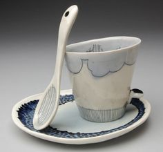 """Cloudy Day"": Nicole Aquillano, Best of Show - ""Cups of Fire: National Ceramic Cup Competition"" at Ann Arbor's Clay Gallery"