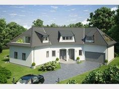Favorit 416 - Einfamilienhaus von Hanlo Haus - eine Marke der Green Building Deutschland GmbH | HausXXL Style At Home, Villa, House Plans, Mansions, House Styles, Home Decor, Bungalows, Two Story Houses, Gable Roof