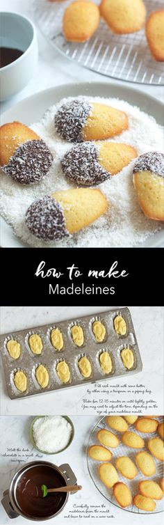 Step-by-step photo guide to making madeleines dipped in chocolate and coconut - a madelamington!   eatlittlebird.com