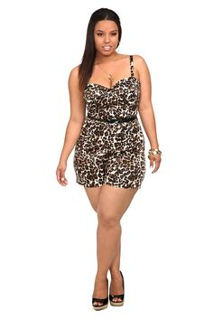 cd5b5e9580997 Leopard Playsuit - Plus Size Torrid - Includes a black patent skinny belt.  Sold Out