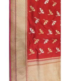 Red Handloom Banarasi Pure Katan Silk Saree