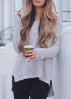 grey speckled sweater for fall