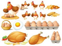 Buy Chicken And Different Types Of Chicken Products by interactimages on GraphicRiver. Chicken and different types of chicken products illustration Chicken Clip Art, Cartoon Chicken, Types Of Chickens, Raising Chickens, Egg Vector, Free Vector Art, Illustration Plate, Beautiful Chickens, Different Types