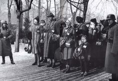 The Jews of Pilsen, including the Rosenbaum family, at the gathering point near the Radbuza River, pending their deportation to the Theresienstadt ghetto Pilsen, January 18-26, 1942