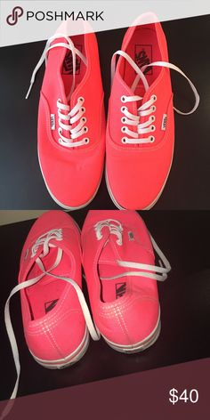 Neon Coral Vans These shoes will add a pop of color to your wardrobe! Great addition to any outfit! Vans Shoes Sneakers
