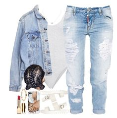 """""""Too Good"""" by oh-aurora ❤ liked on Polyvore featuring Dsquared2, Levi's, Humble Chic, Clarins, Mikimoto, aurora, polyvorecommunity, polyvoreeditorial and PolyvoreMostStylish"""