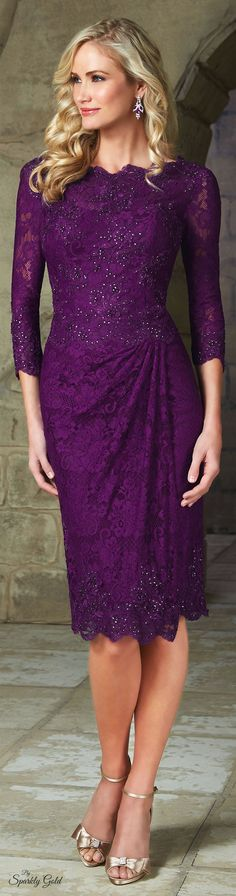 Purple mother of the bride dresses. Long 3/4 sleeve evening dresses for the mothers of the wedding. Our US #fashion firm can recreate this look for you at a reasonable price. Get info on custom mother of the bride evening dresses at www.dariuscordell.com
